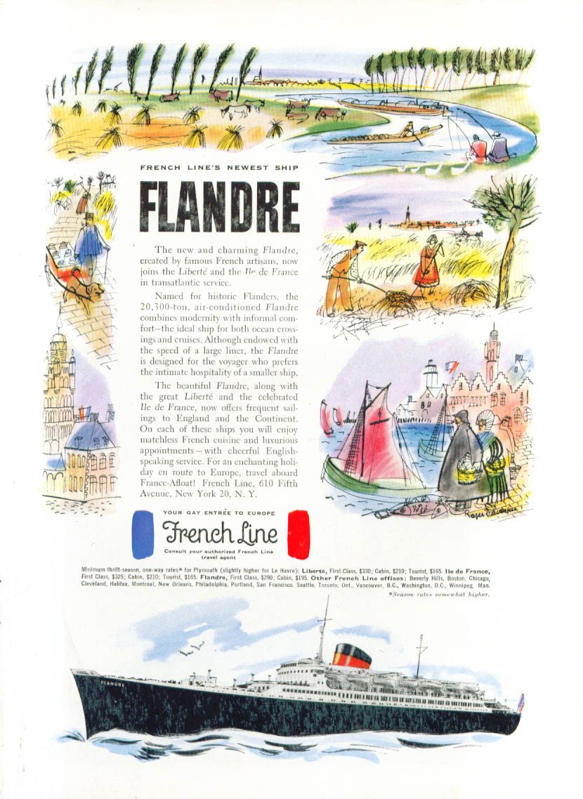 Image for French Line's newest ship S S Flandre ad 1952