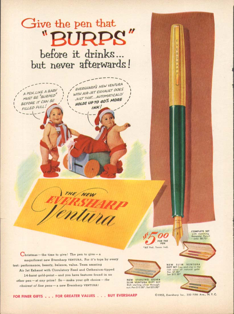 Image for Give the pen that burps Eversharp Ventura ad 1953