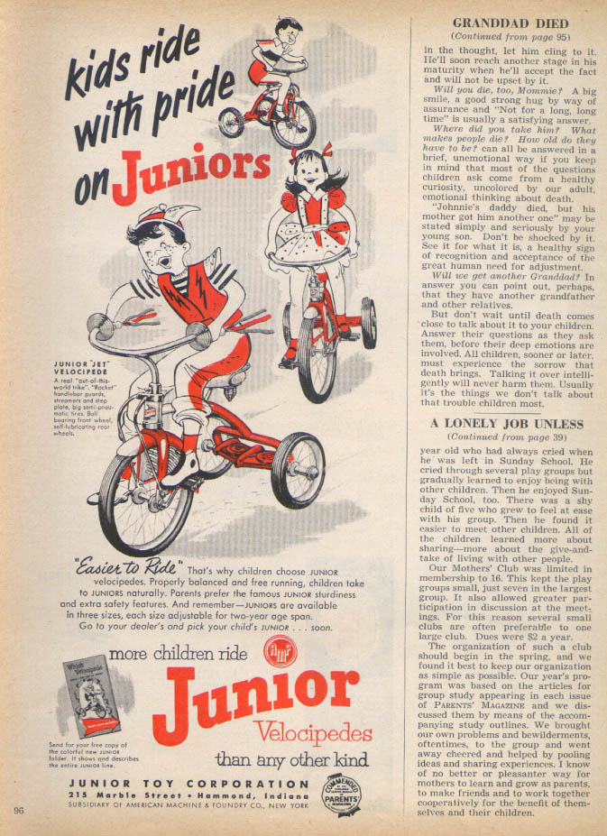 Image for Ride With Pride Junior Velocipede tricycle ad 1953