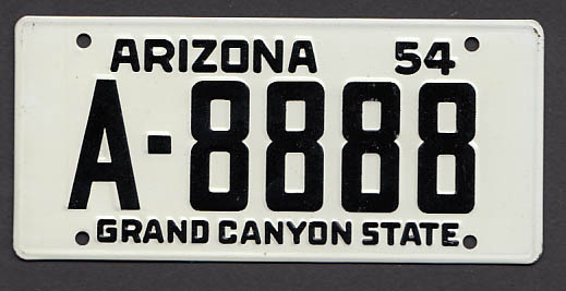 Image for Arizona Wheaties License Plate 1954