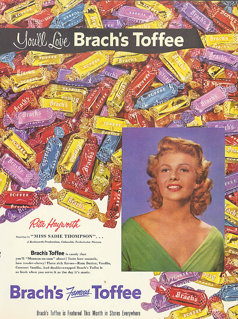 Image for Rita Hayworth for Brach's Toffee Candy ad 1954