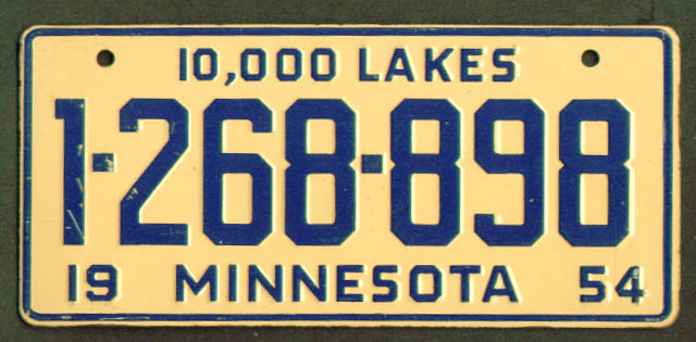 Image for Minnesota Wheaties cereal License Plate 1954