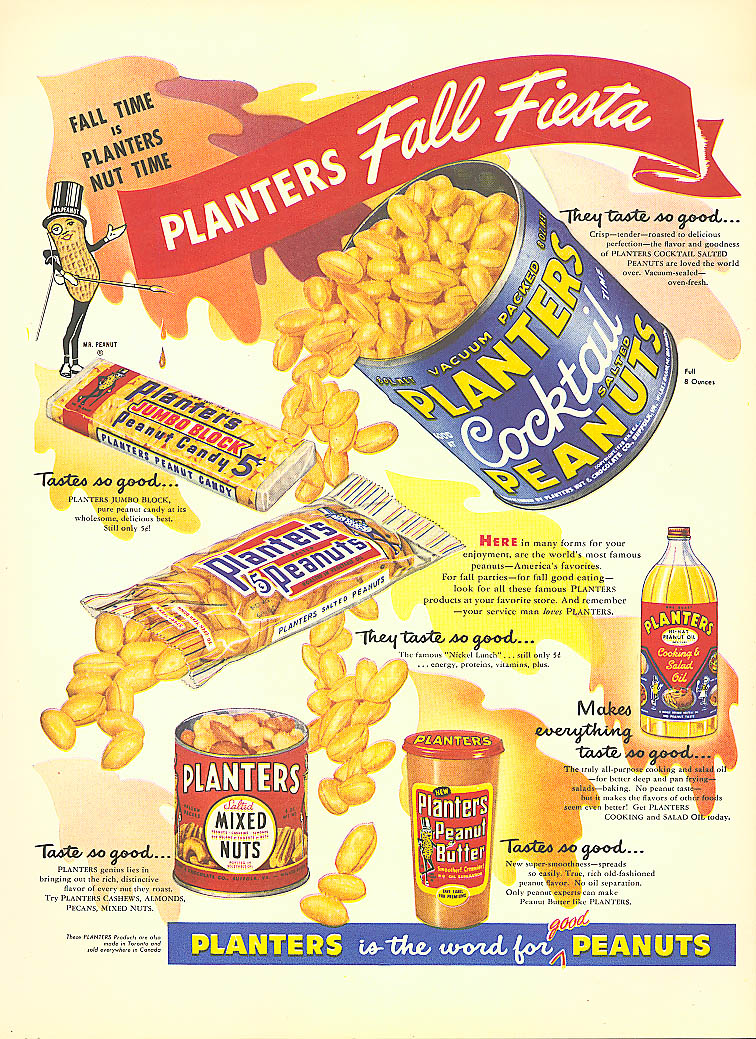 Image for Planters Peanuts Fall Fiesta candy oil ad 1954