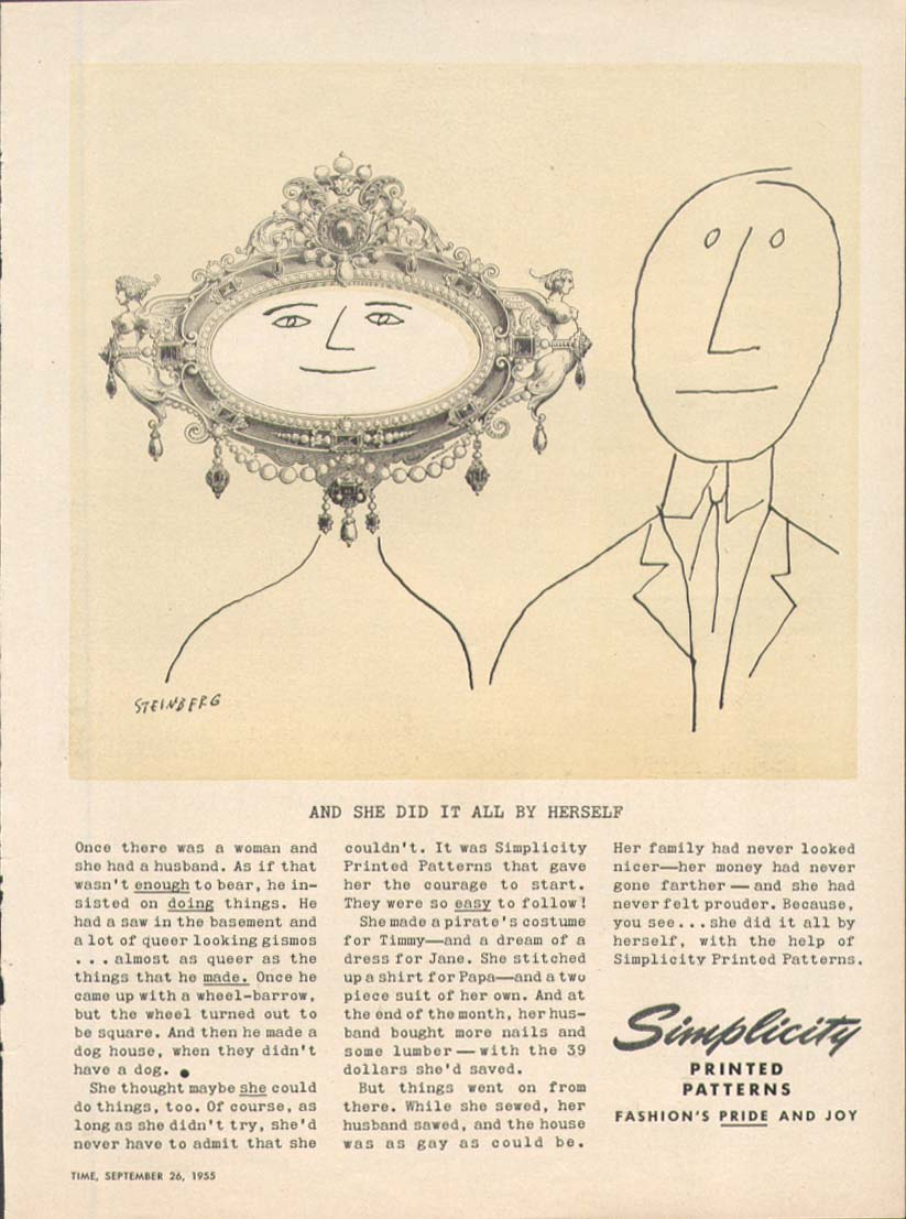 Image for 2 faces 1 in frame Simplicity ad 1955 Steinberg