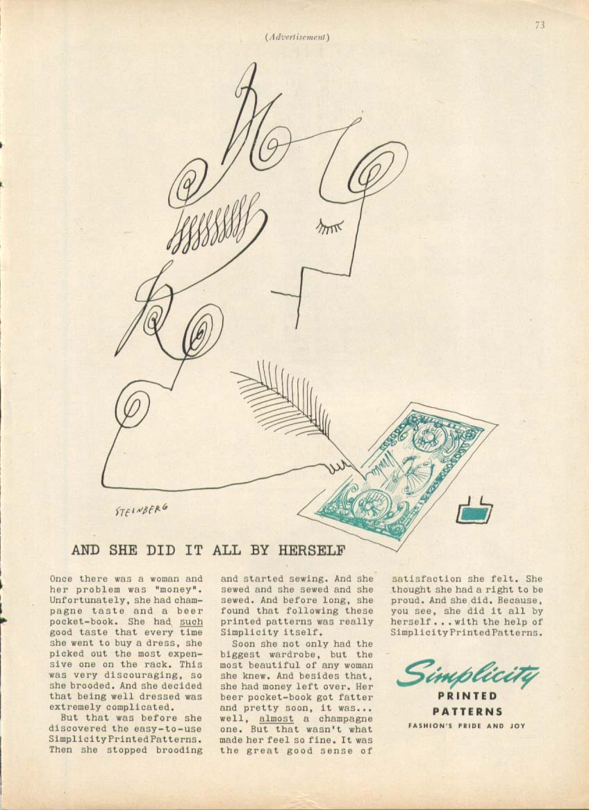 Image for Drawing her own money Simplicity ad 1955 Steinberg