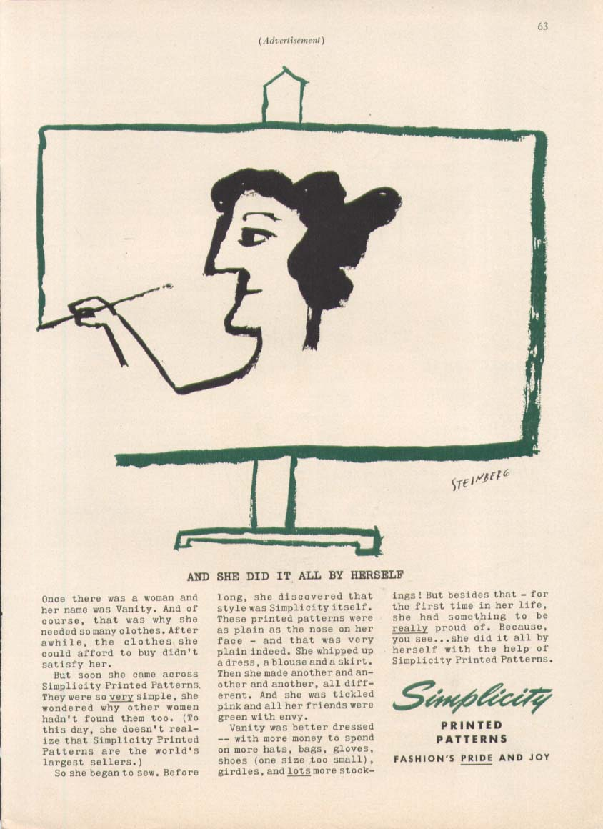 Image for Vanity self-portrait Simplicity ad 1955 Steinberg