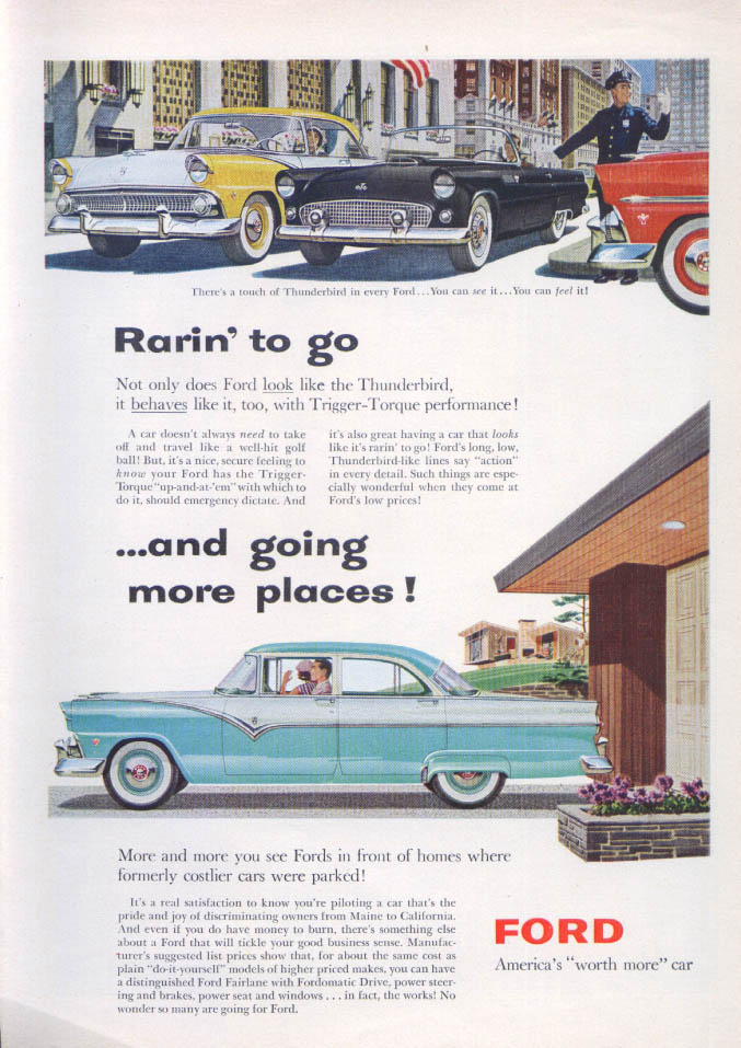 Image for Rarin' to go & going places Ford & Thunderbird ad 1955