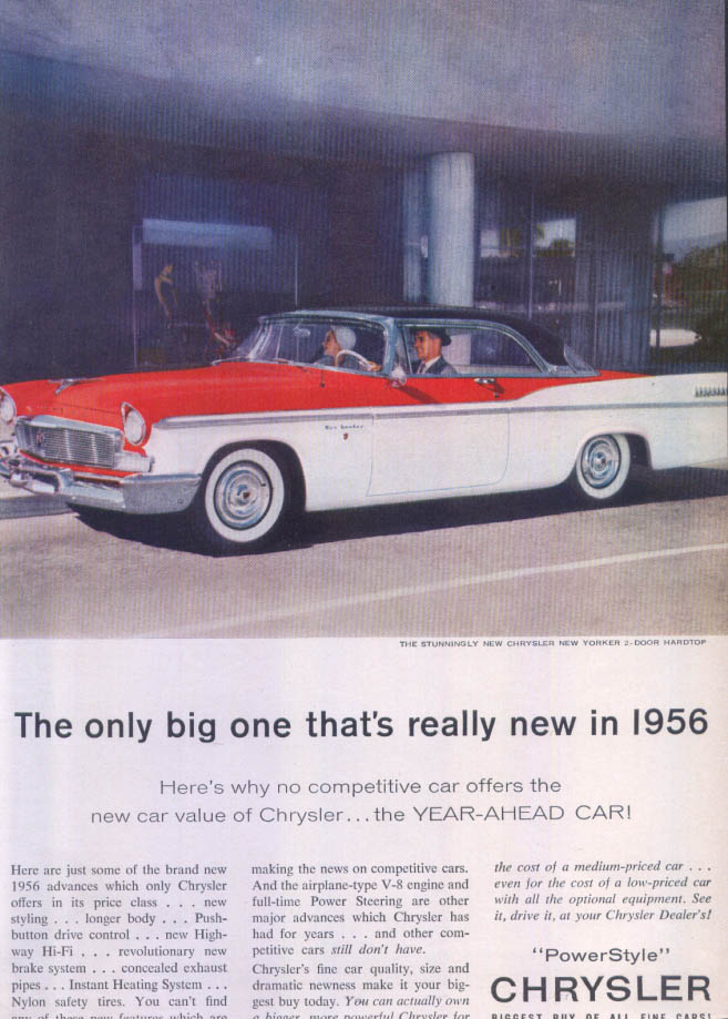 Image for Chrysler New Yorker only really new big one ad 1956