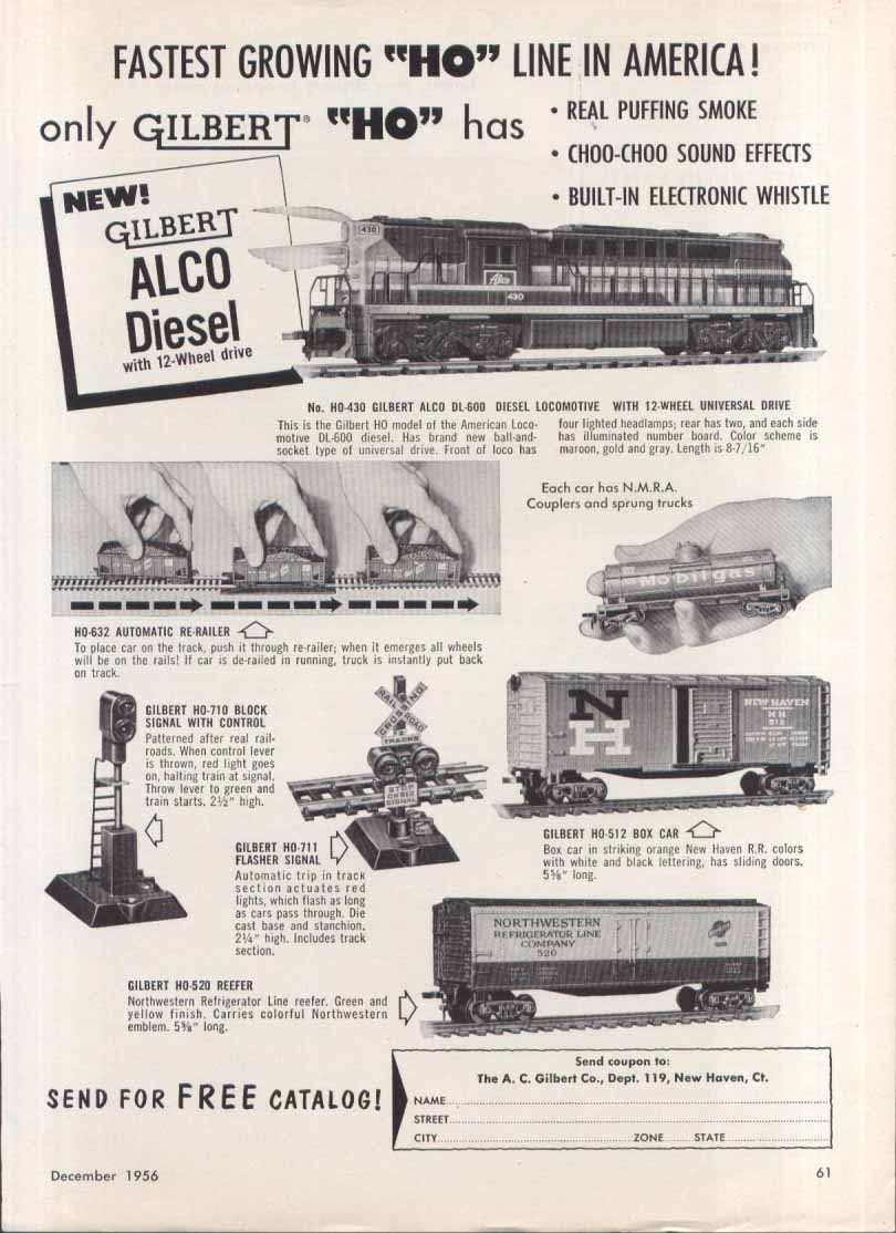 Image for Gilbert ALCO Diesel HO toy trains ad 1956