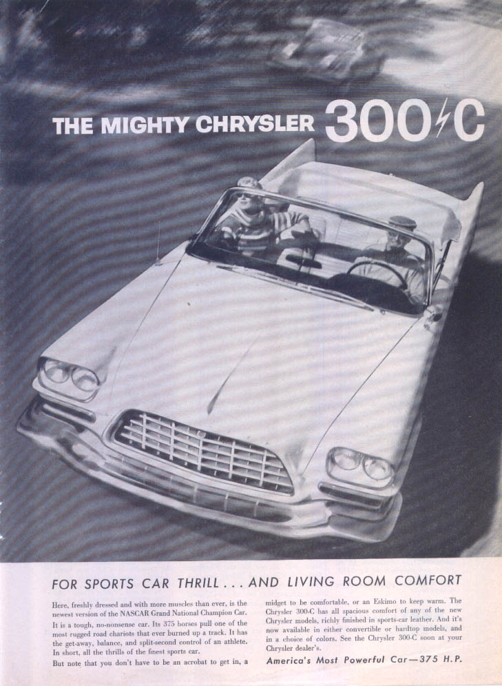Image for Chrysler 300-C Convertible sports car thrill ad 1957
