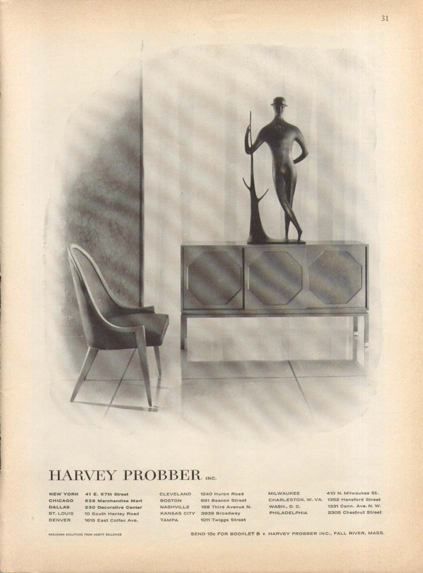 Image for Chair & Sideboard by Harvey Probber ad 1957