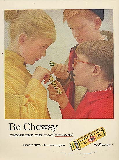 Image for Be Chewsy Beech-Nut Gum girl & 2 boys ad 1957