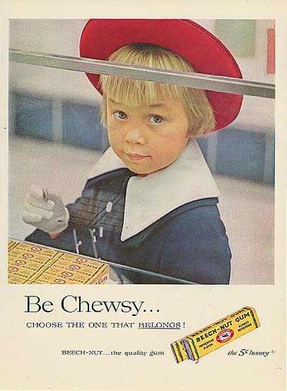 Image for Be Chewsy Beech-Nut Gum little girl at counter ad 1957