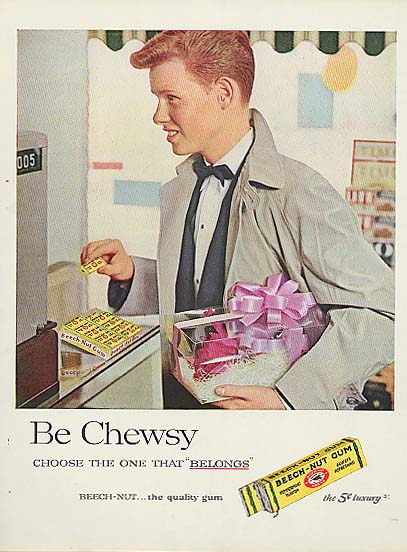 Image for Be Chewsy Beech-Nut Gum boy on prom night ad 1957