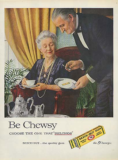 Image for Be Chewsy Beech-Nut Gum servant & lady ad 1957