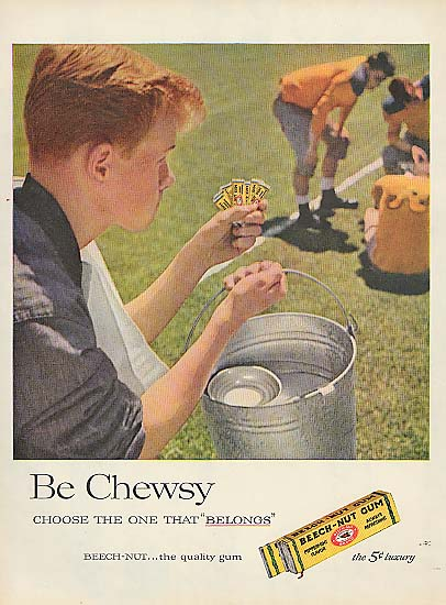 Image for Be Chewsy Beech-Nut Gum football waterboy ad 1957