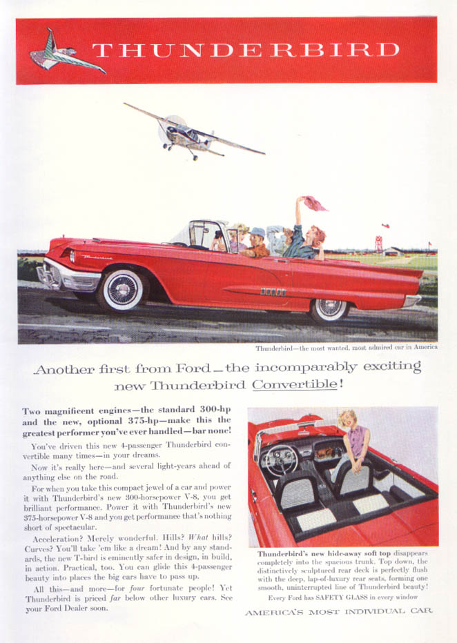 Image for Another first from Thunderbird convertible ad 1958