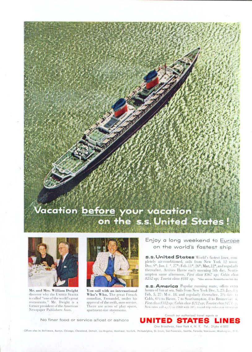 Image for Vacation before your vacation S S United States ad 1959