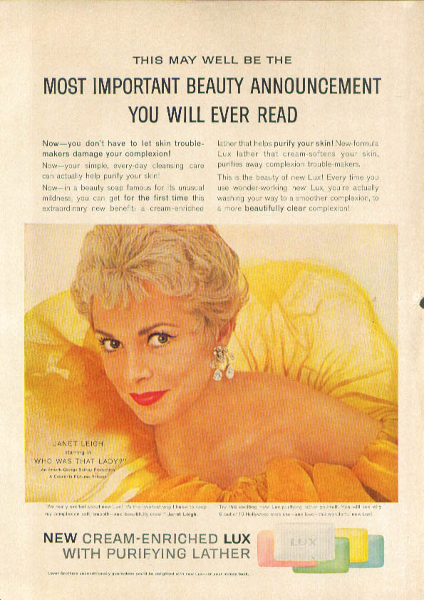 Image for Janet Leigh for Lux Soap ad 1960