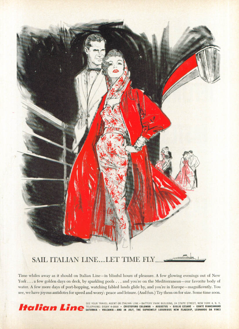 Image for Sail Italian Line Let Time Fly ad 1960