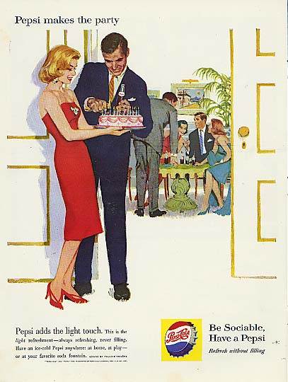 Image for Pepsi-Cola makes the party birthday cake blonde strapless dress ad 1960