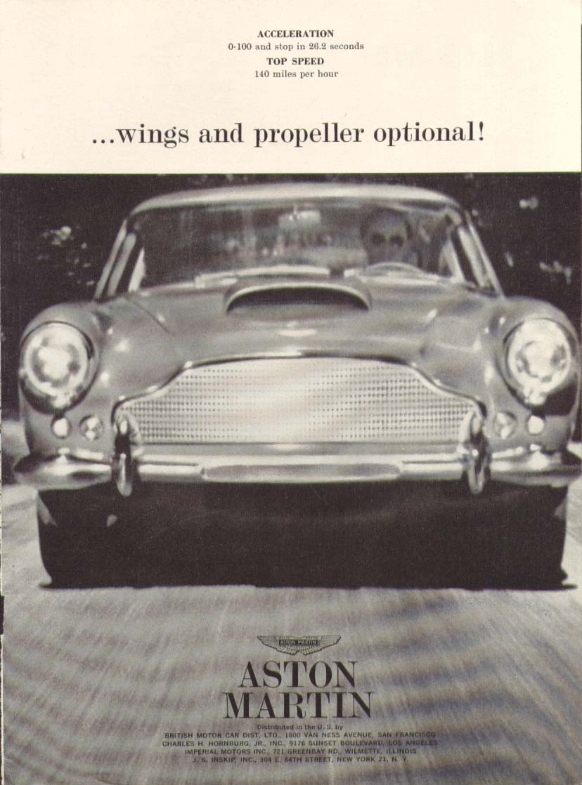 Image for Wings & a propeller optional Aston Martin ad 1961