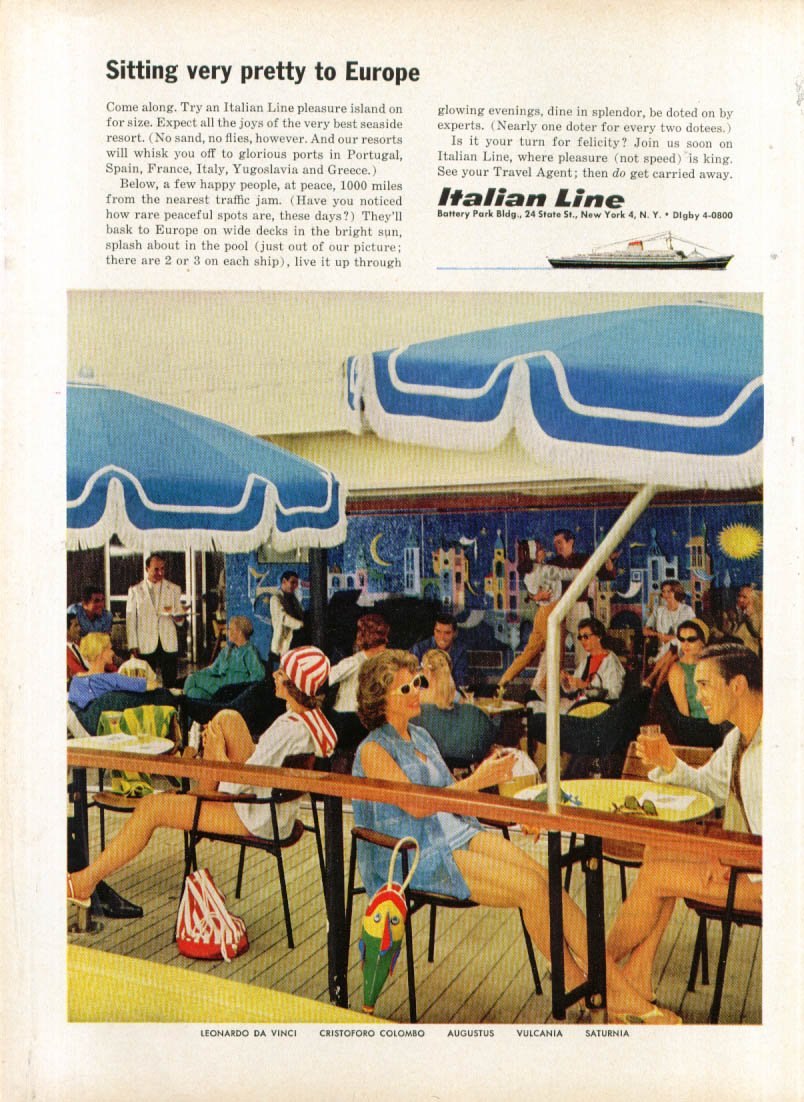 Image for Sitting very pretty to Europe Italian Line ad 1961