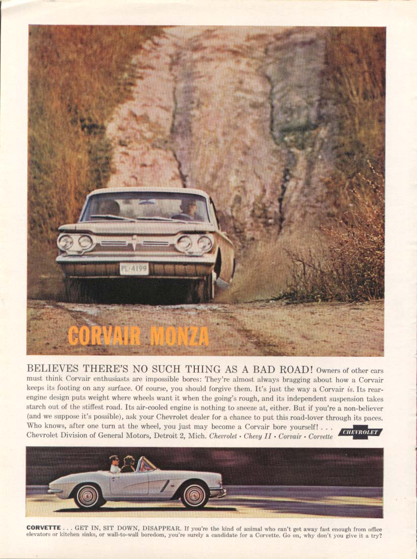 Image for No Such Thing as a Bad Road Corvair & Corvette ad 1962