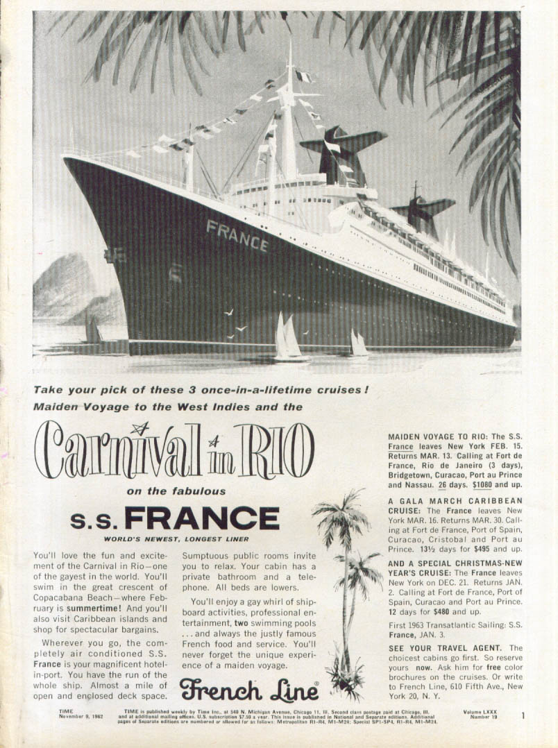 Image for Carnival in Rio on S S France French Line ad 1962