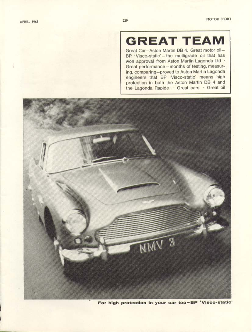 Image for Great Team Great Car Aston Martin DB 4 ad 1963