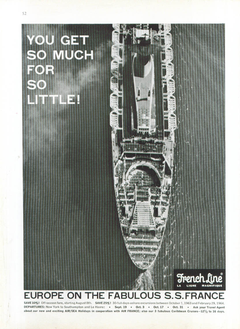 Image for So much for so little S S France French Line ad 1963