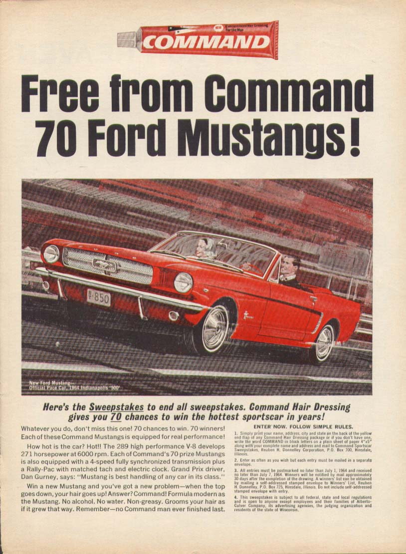 Image for Command Hair Dressing Mustang convertible ad 1964