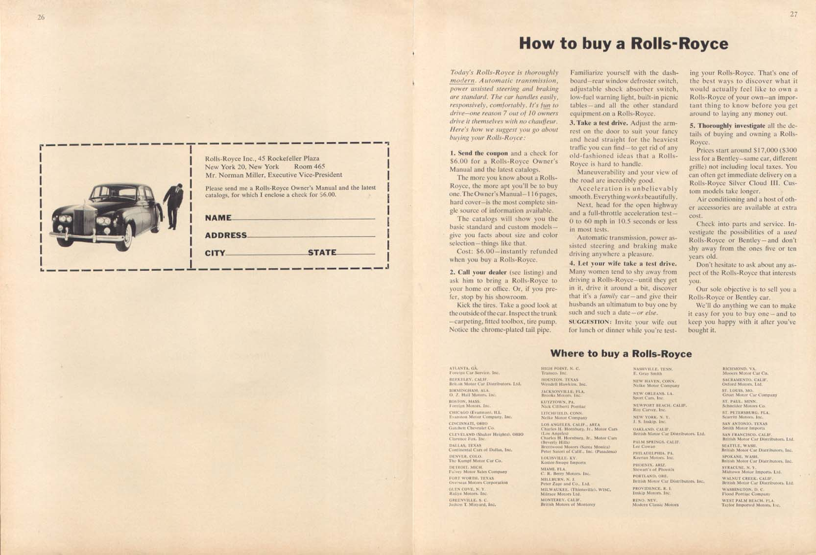 Image for How to buy a Rolls-Royce 2-page ad 1964