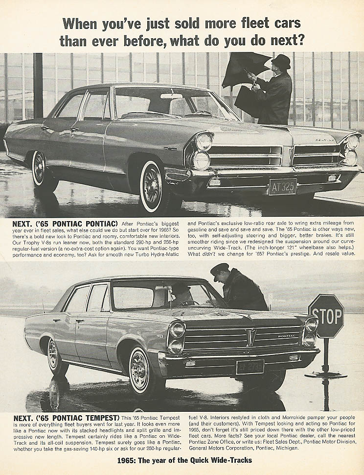 Image for When you've sold fleet cars Pontiac & Tempest ad 1965