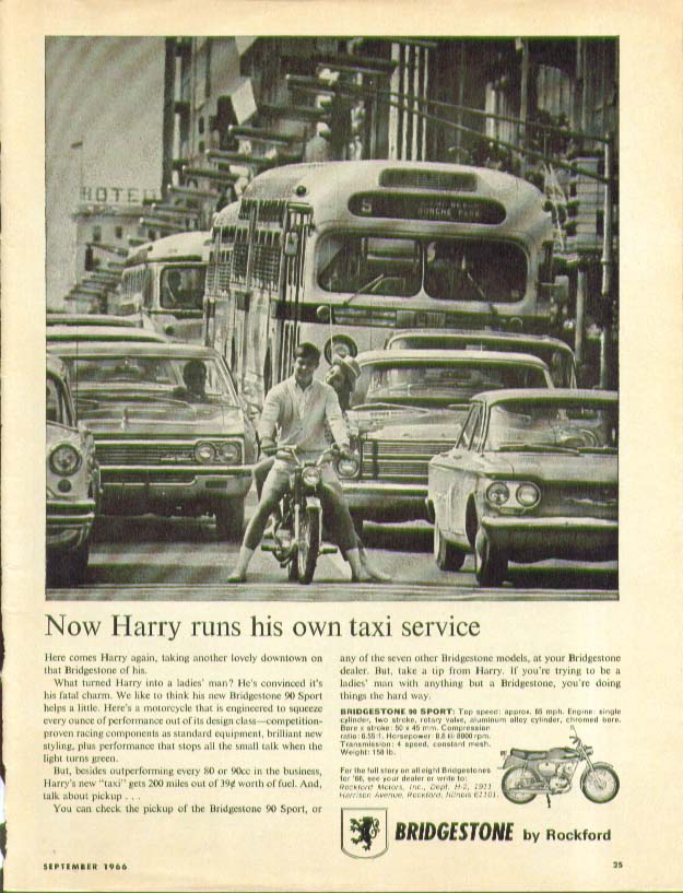 Image for Now Harry runs his own taxi service Bridgestone 90 Sport Motorcycle ad 1966