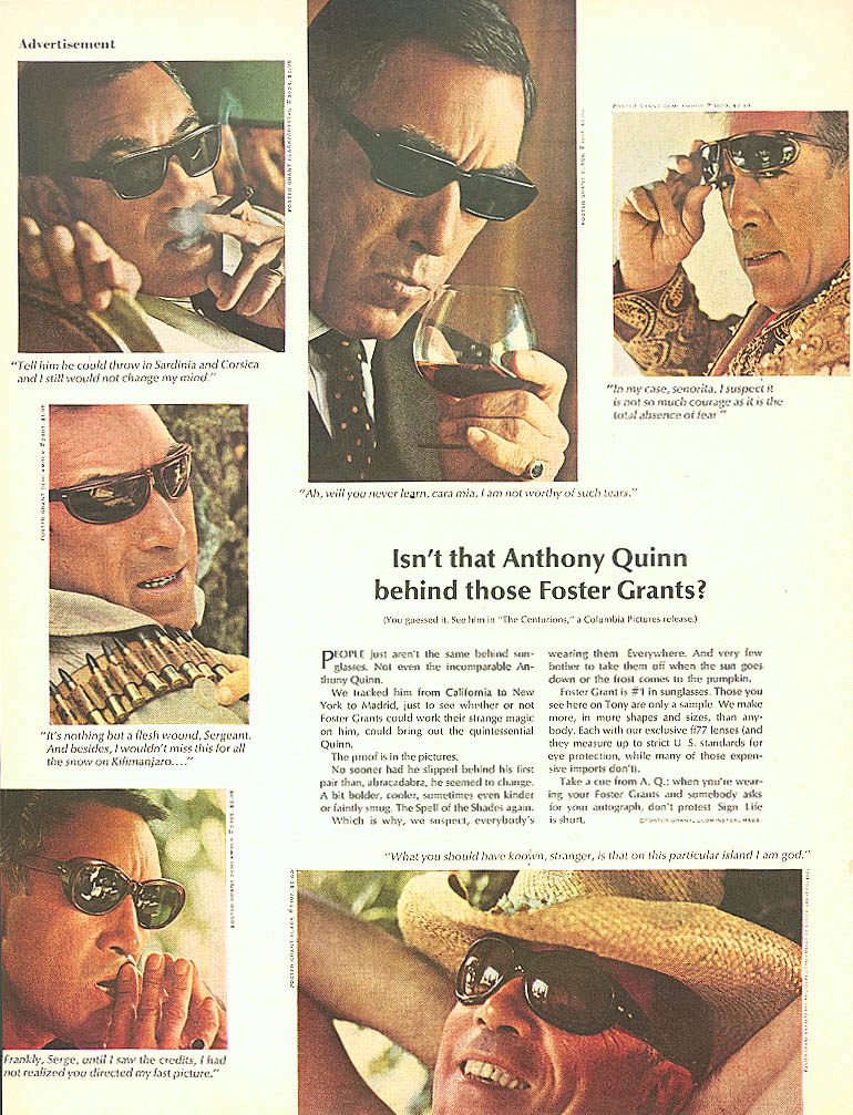 Image for Anthony Quinn for Foster Grant Sunglasses ad 1966