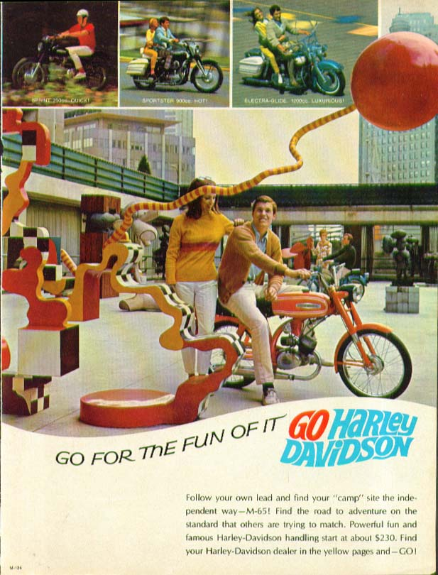Image for Go for the Fun of it Harley-Davidson M-65 Motorcycle ad 1967