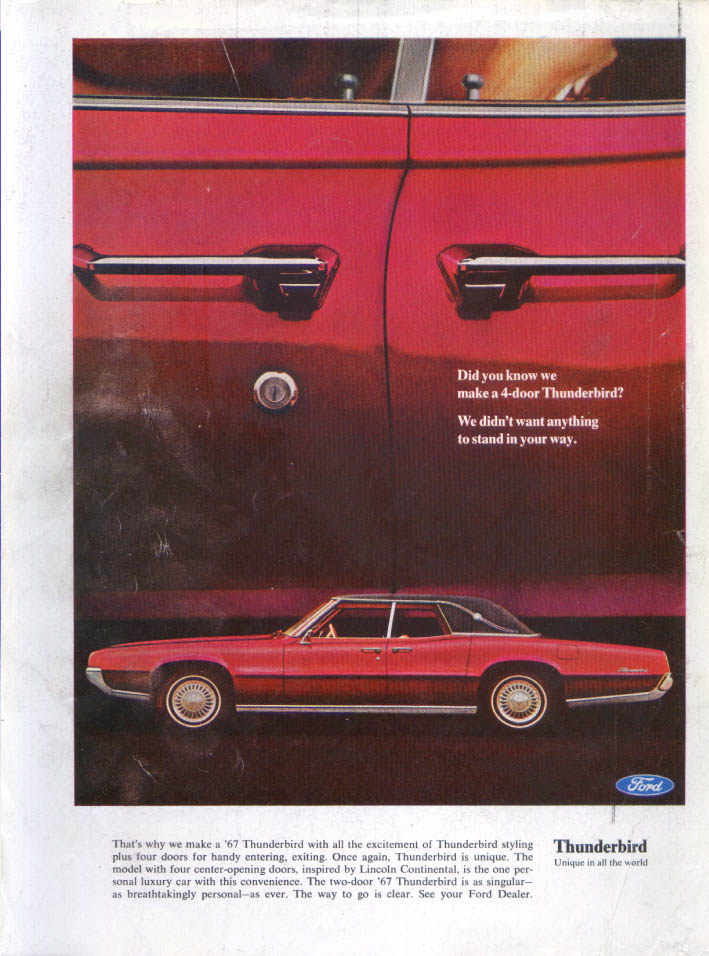 Image for Ford Thunderbird didn't want to stand your way ad 1967