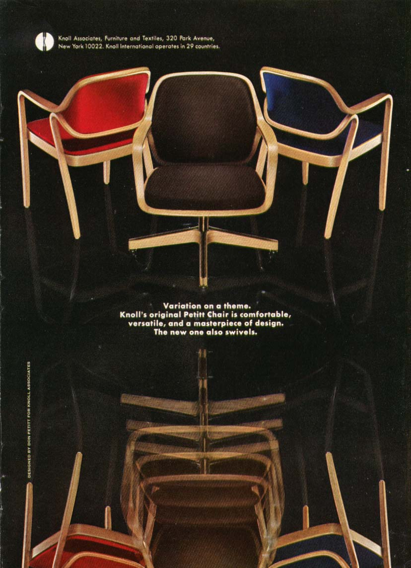 Image for Don Petitt Chair for Knoll Associates ad 1969