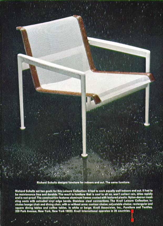 Image for Richard Schultz designs furniture for indoors & out Knoll Associates ad 1969