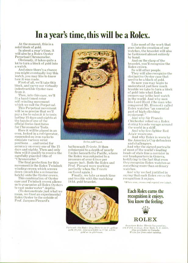 Image for In a year's time this will be a Rolex Watch ad 1970