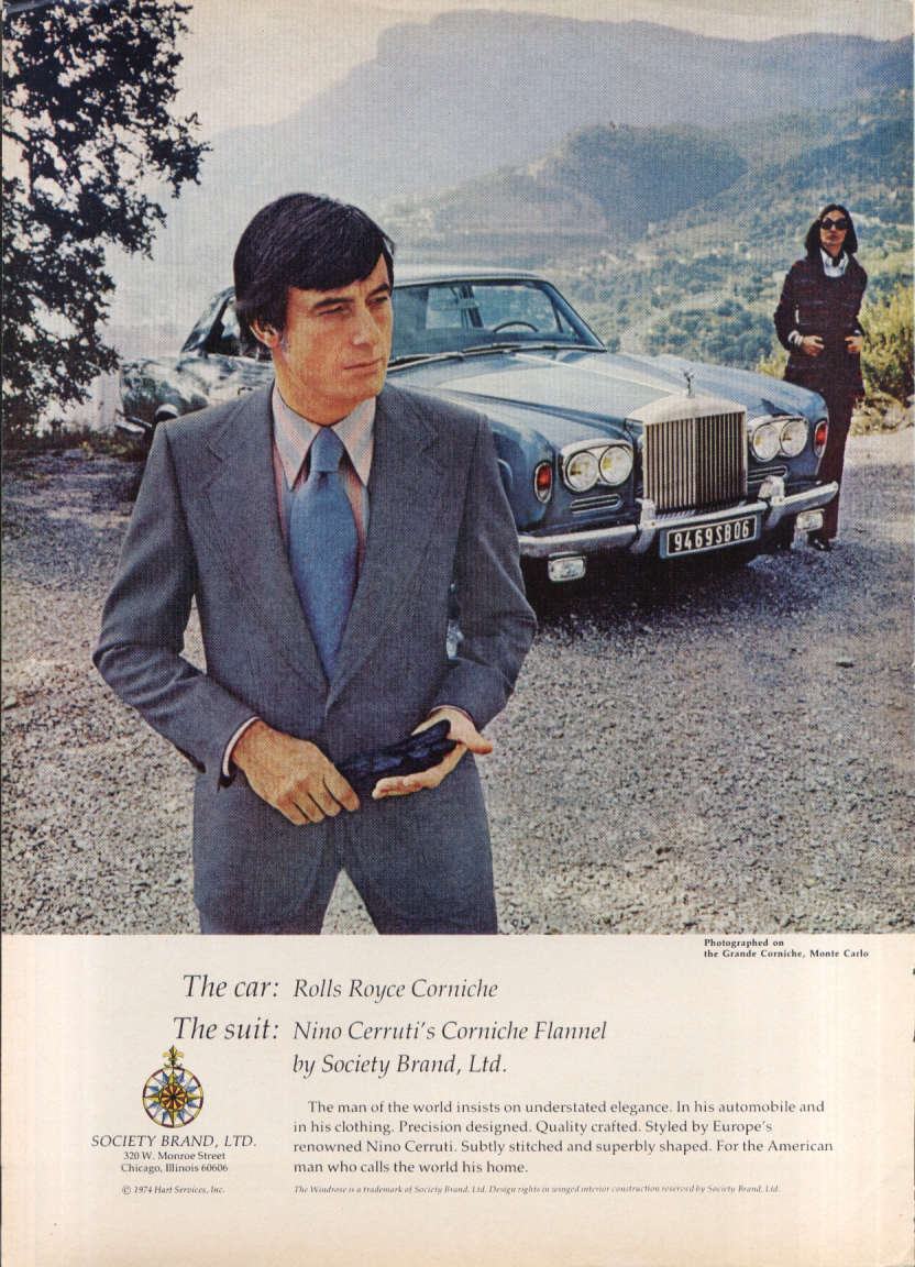 Image for The car Rolls-Royce Corniche The suit Nino Cerruti's Society Brand ad 1974 1975