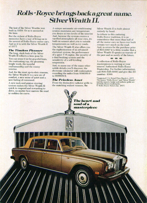 Image for Rolls-Royce brings back Silver Wraith II ad 1977