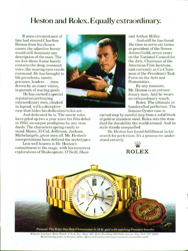 Image for Charlton Heston & Rolex Equally extraordinary ad 1981