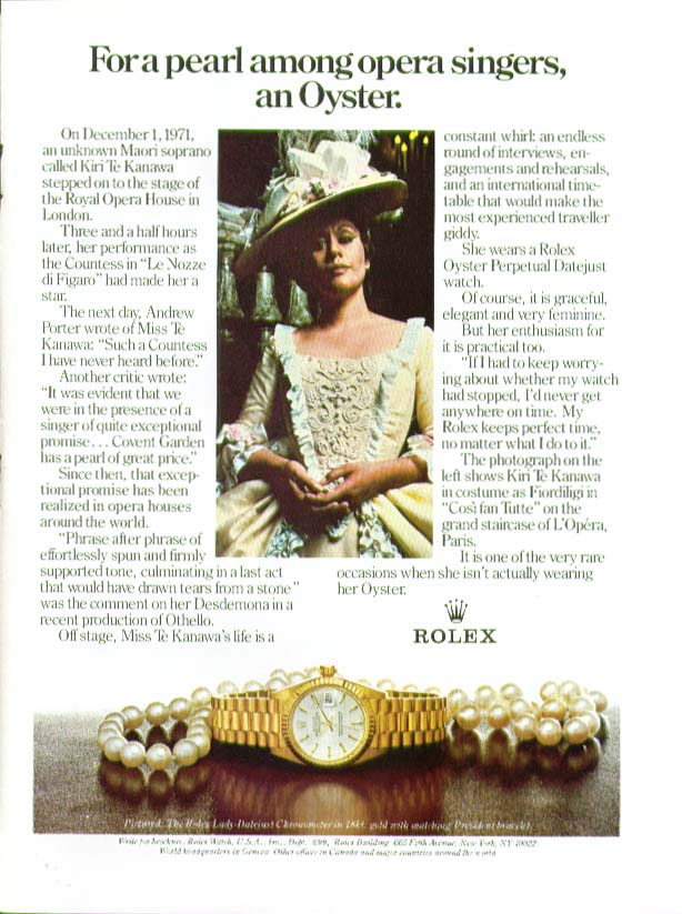 Image for Soprano Kiri Te Kanawa for Rolex Oyster Watch ad 1981