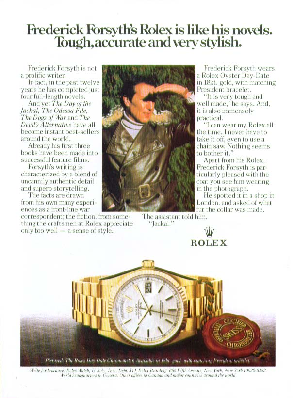 Image for Frederick Forsyth for Rolex Watch ad 1983