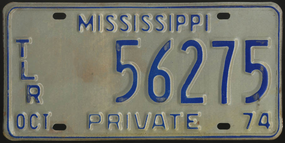 Image for 1974 Mississippi Private Trailer license plate 56275