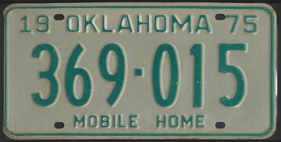 Image for 1975 Oklahoma Mobile Home license plate 369-015