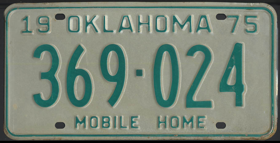 Image for 1975 Oklahoma Mobile Home license plate 369-024
