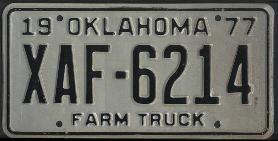 Image for 1975 Oklahoma Farm Truck license plate XAF-6214